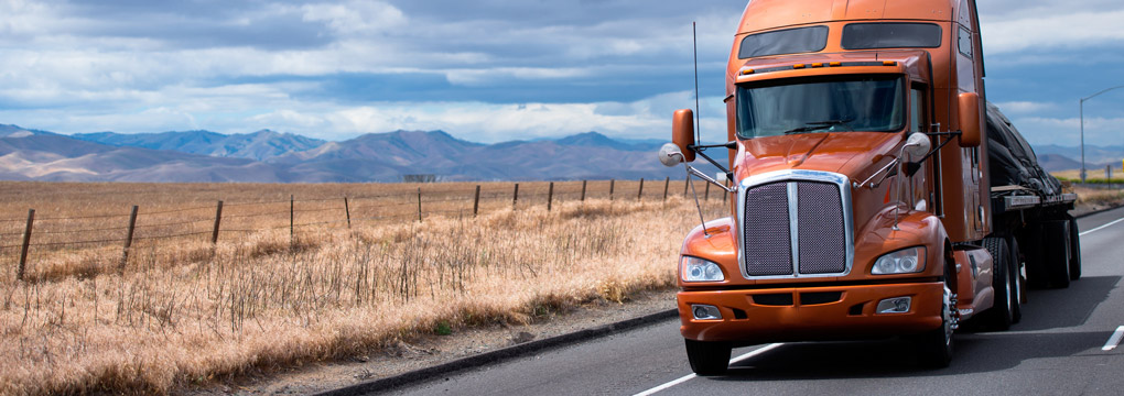 Orange truck with grass and mountains in background